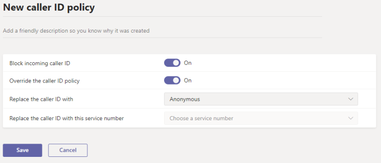 Screenshot of new caller ID policy page in the admin center