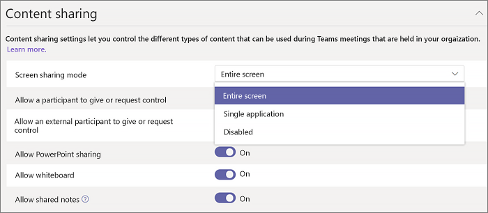 Configure desktop sharing in Microsoft Teams | Microsoft Docs
