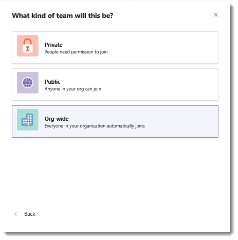 Screenshot of the Org-wide option to create an org-wide team