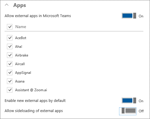 Screenshot Of The Allow External Apps Control In The Apps Section.