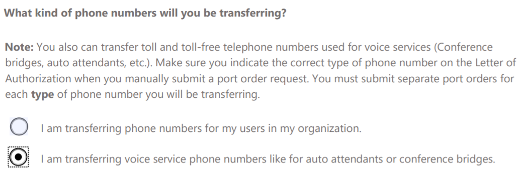 Enterprise test plan for phone system with calling plans in what kind of phone numbers will you be transferring answer i am transferring voice spiritdancerdesigns Gallery