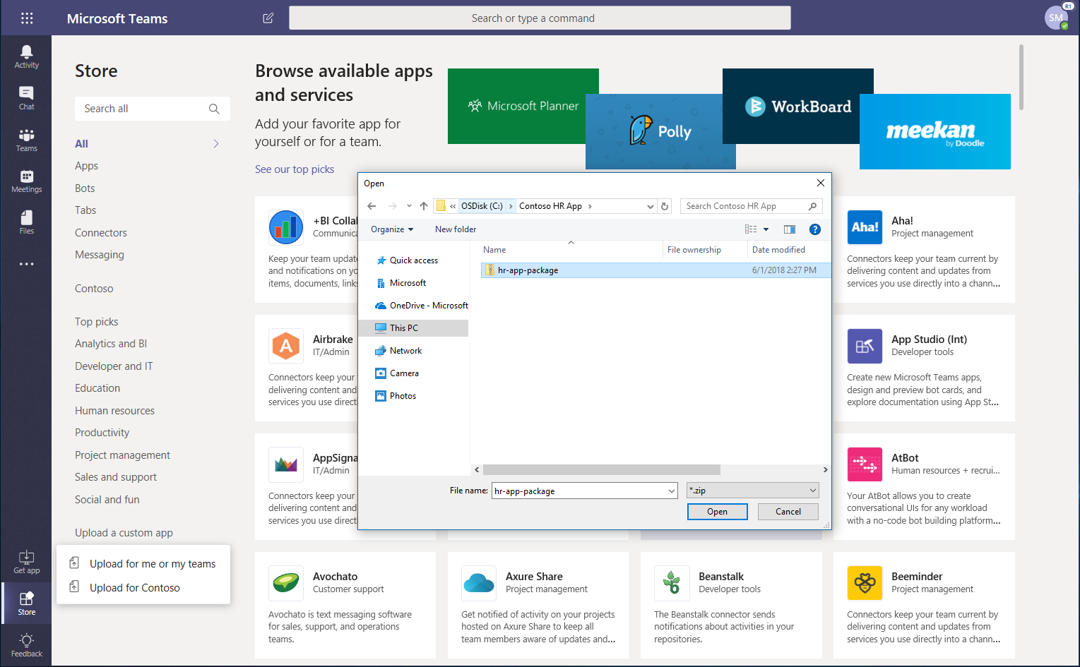 Publish Apps To The Microsoft Teams Tenant Catalog Docs 27 Pm Projects Technical Discussions 2 Comments Screenshot Of App Store Showing