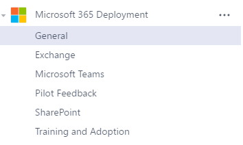 Screenshot of a sample Microsoft 365 Deployment team.