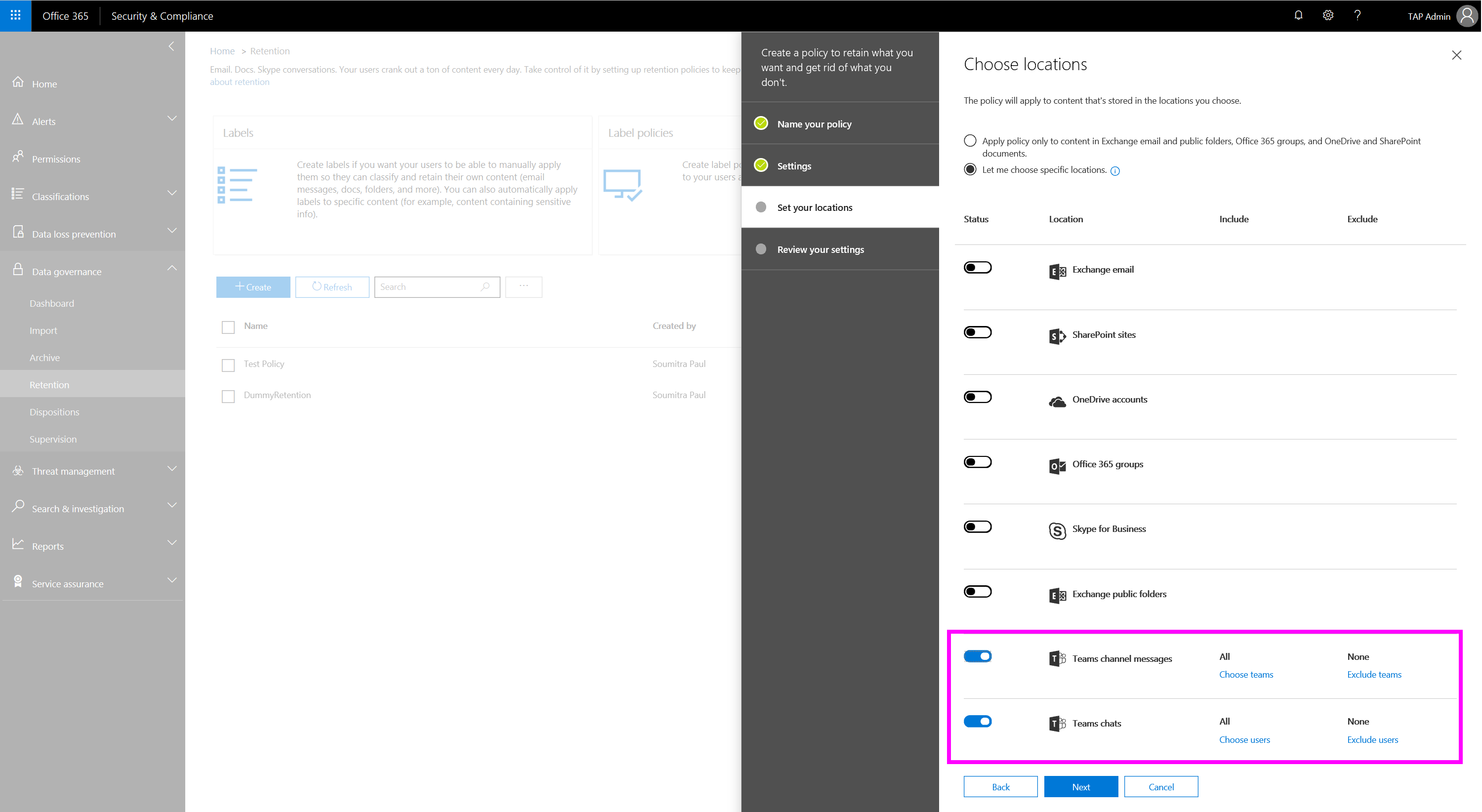 Retention Policies In Microsoft Teams Docs Back Of Computer Diagram The Workflow Data To Exchange And Sharepoint