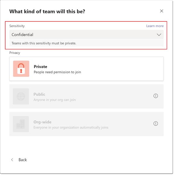Microsoft Teams sensitivity labels