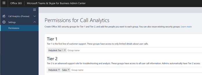 Screenshot shows the Permissions for Call Analytics page with the options for Tier 1 and Tier 2 permissions.