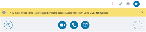 Screen shot of Teams message to create interop conversation with a Skype for Business user