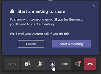 Screen shot of Teams message to share meeting with a Skype for Business user