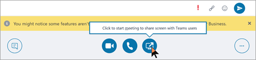 Screen shot of Teams message to start meeting with a Teams user