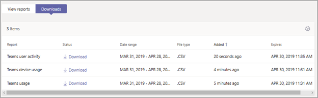 Screenshot of the Downloads tab showing exported reports to download