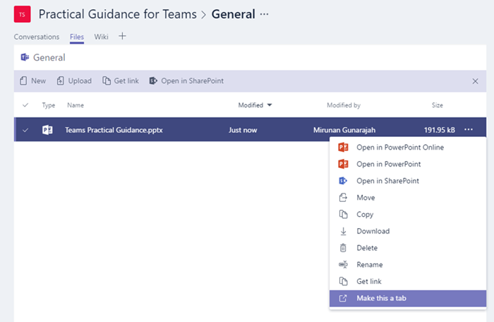 Use built-in and custom tabs in Microsoft Teams | Microsoft Docs