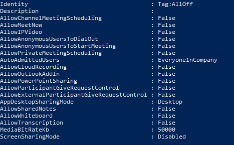 Screenshot of calling option with all meeting policies disabled.