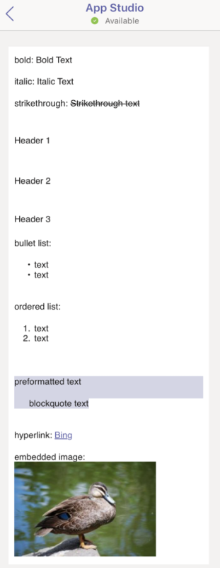 Text formatting in cards - Teams | Microsoft Docs