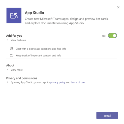 Get started with App Studio for Microsoft Teams - Teams