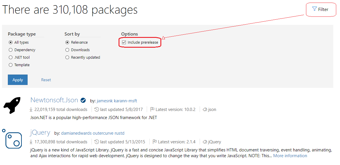 Finding and Choosing NuGet Packages | Microsoft Docs