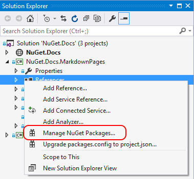 Install and manage NuGet packages in Visual Studio