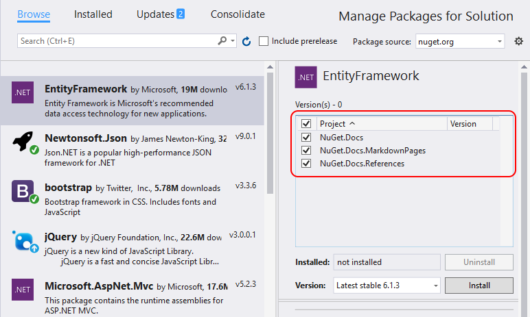 Install and manage NuGet packages in Visual Studio | Microsoft Docs