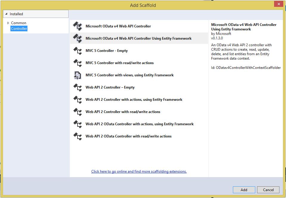OData V4 Web API Scaffolding - OData   Microsoft Docs