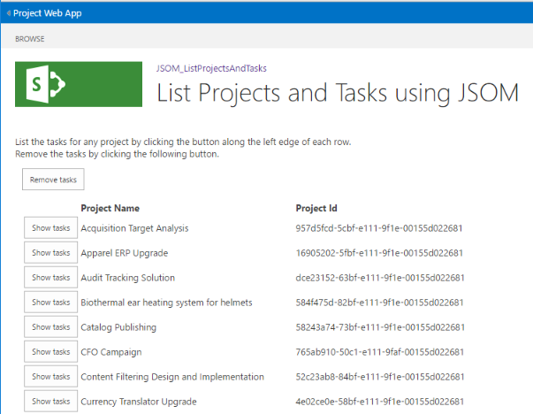 Developing a Project Online add-in using the JavaScript