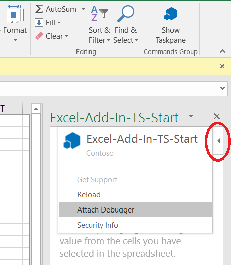 Attach a debugger from the task pane - Office Add-ins