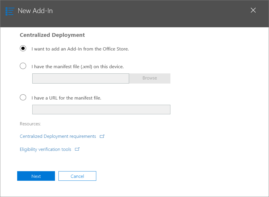 New Add-In dialog in Office 365 admin center