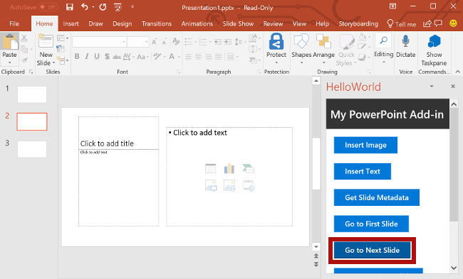 PowerPoint add-in tutorial - Office Add-ins | Microsoft Docs