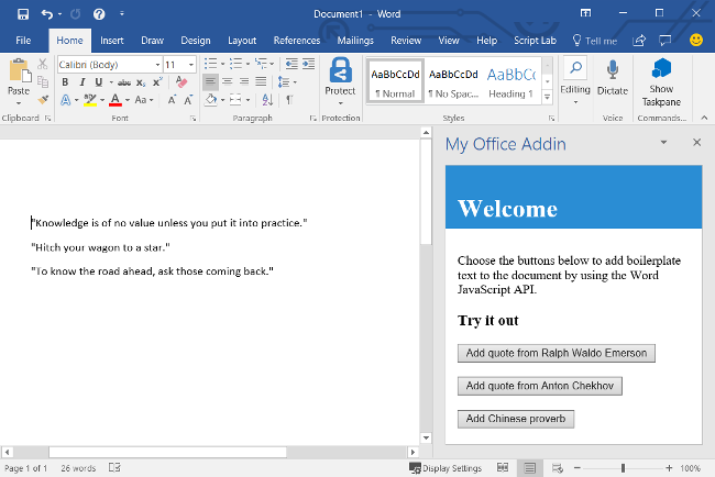 Build your first Word task pane add-in - Office Add-ins