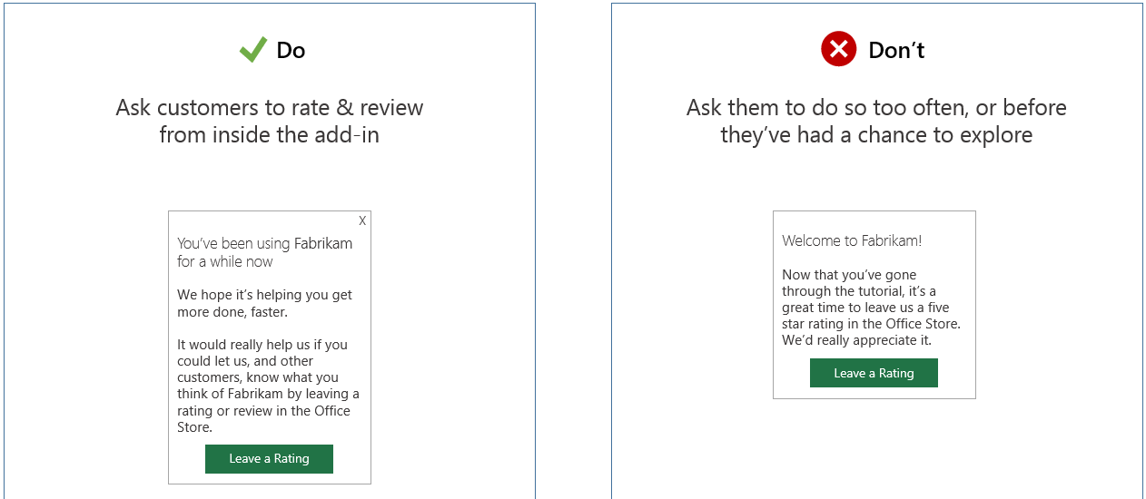 An Image That Shows A Request To Rate Within An Add In Next To A  Leave Applications For Office
