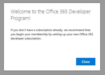 Join the Office 365 Developer Program | Microsoft Docs