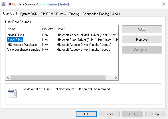 Can't use the Access ODBC driver or OLEDB provider outside Office
