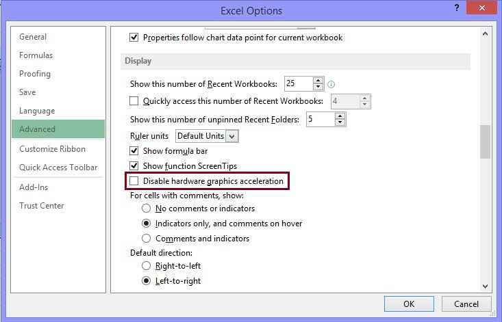 excel 2013 not opening files blank