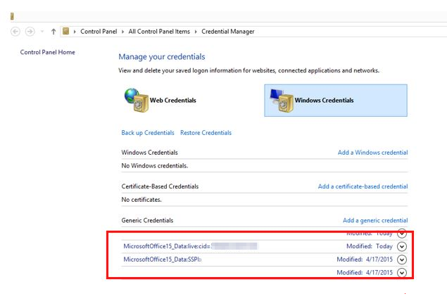 Remove stored credentials in the Credential Manager