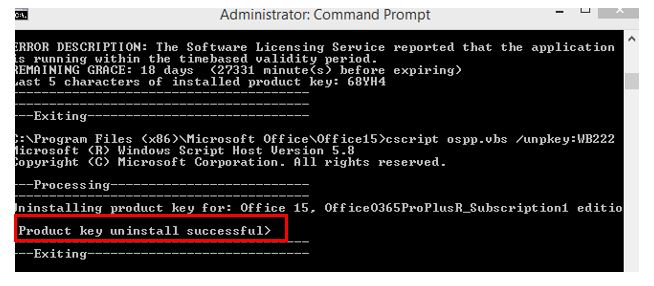 Product key uninstall successful in the command result