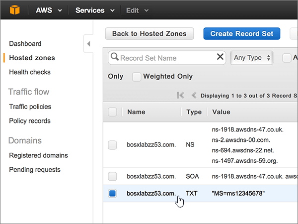 Create DNS records at Amazon Web Services (AWS) for Office 365