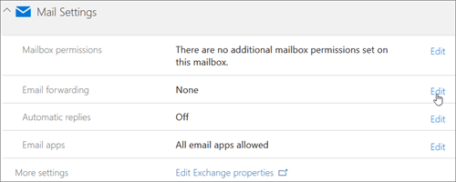 Chose Edit to configure email forwarding