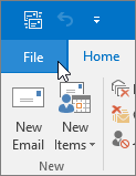 File menu in Outlook 2016