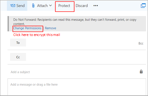 Email message encryption in Outlook.com