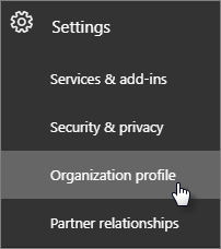 Navigate to Settings and then Organization profile