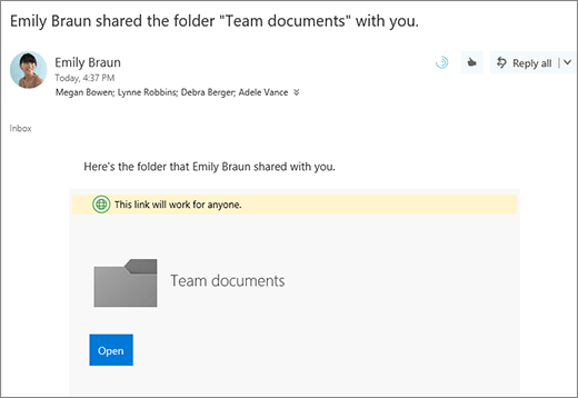 Email with link to share OneDrive folder
