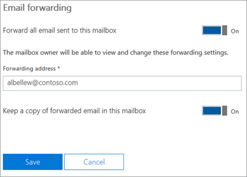 How to setup email forwarding office 365 admin