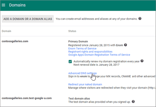 Create DNS records when your domain is managed by Google