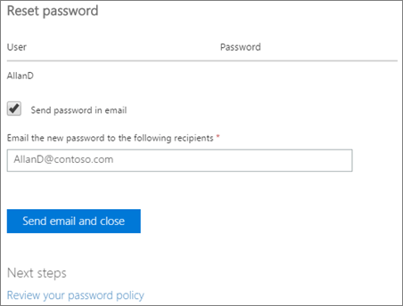 microsoft reset password page