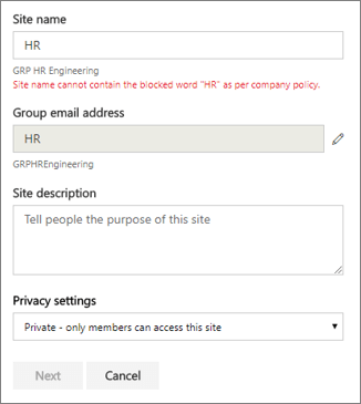 Office 365 Groups naming policy | Microsoft Docs