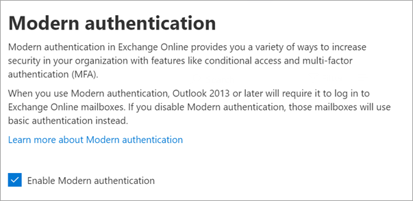 Modern authentication panel with enable checkbox checked.