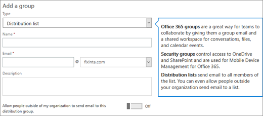 Create distribution groups in the Microsoft 365 admin center