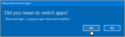 Office 365 switch apps prompt