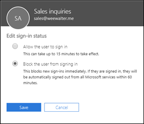 Edit sign-in status flyout in the M365 admin center