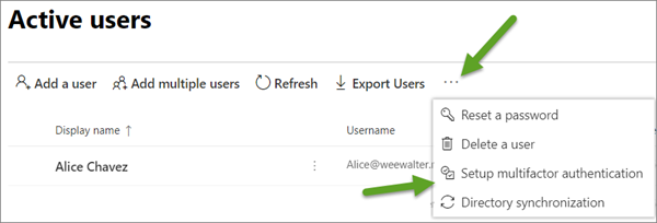 In the preview version of the admin center, the More menu on the Active Users page, with Setup Azure multi-factor auth selected.