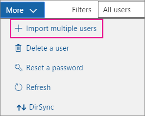 In the More drop-down, choose Import multiple users