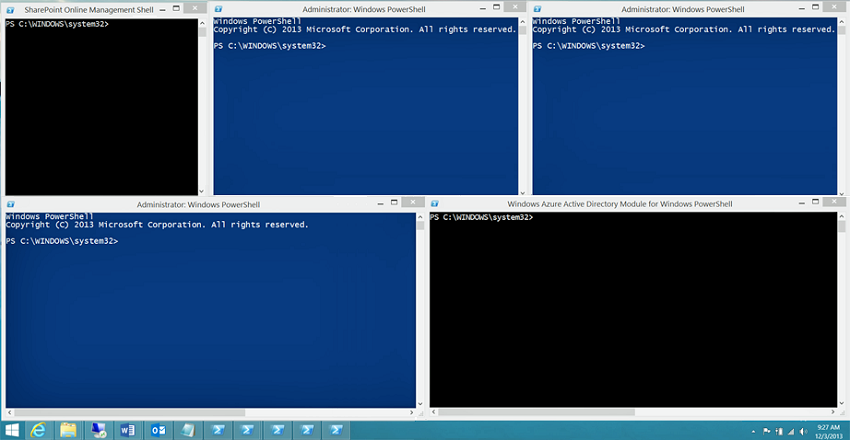 Five Windows PowerShell Consoles Running At Once